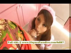 Risa Tsukino asian in waitress uniform licking fat dick