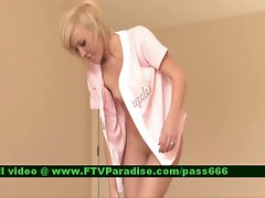 Loryn tempting tempting blonde girlie on the floor chooses her clothes