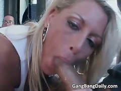 Attractive and sexual tempting blonde cutie is gang fucked part1