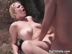 Light-haired cutie with large melons suck prick part2