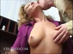 Banging the mum snatch stroking blondie cock sucking riding double penetration anal triple hardcore cumshot