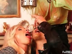 Two buxom raunchy lez randy chicks stroking part6
