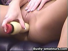 Big titted Tera toying her shave vagina