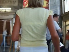 It was gorgeous bronzed blond in a white skirt! I was fascinated