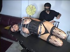 3 trannies and their master into bondage act