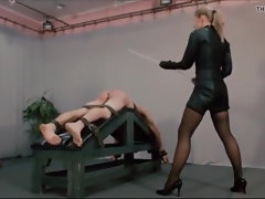 Extreme caning by masochistic female