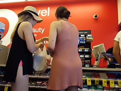 Candid hidden cam 2 cuties shopping thick bums arch over
