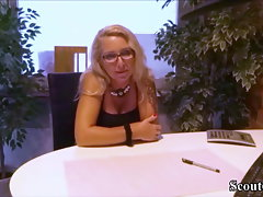 Alluring GERMAN Mum Chief SEDUCE 19yo BOY TO FUCK AT WORK