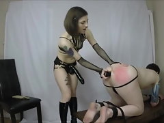 CHASTITY FAGGOT GETS PEGGED Rough
