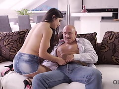 OLD4K. Playful black-haired dissipated solid dad to fuck her...